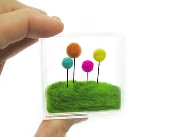 Miniature Terrarium , Pink< Teal,Orange and yellow needle felted flowers Floral Home Decoration