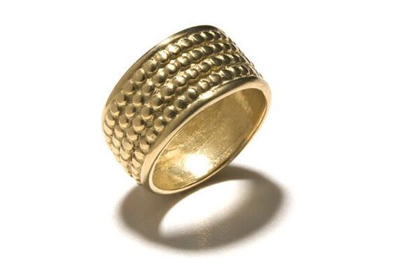 Wide Wedding Band Chunky Gold Wedding Ring Unique Wedding