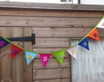 Felt Appliqué Number Line 11-20 Bunting-Banner-Bedroom-Playroom-Nursery-Handmade