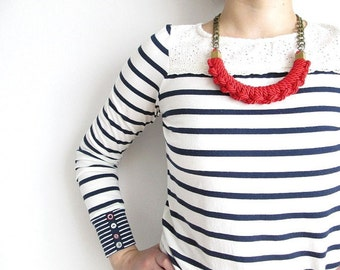 Red rope necklace Nautical knot necklace Knotted necklace