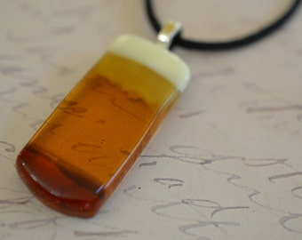 FUSED GLASS JEWELRY - Pendant - Beer - Amber - Necklace