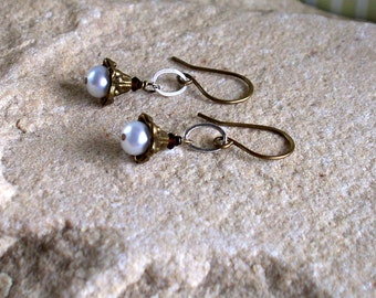 Pearly Brass Bells  - Sterling silver, Freshwater Pearl Swarovski Crystal And Brass Earrings