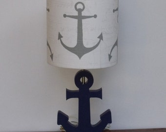 Handmade Medium Grey Anchor/Nautical Theme Drum Lamp Shade