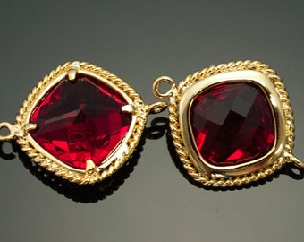 2012011 / Ruby / 16k Gold Plated Brass Framed Glass Connector 19mm x 15mm / 1.5g / 2pcs