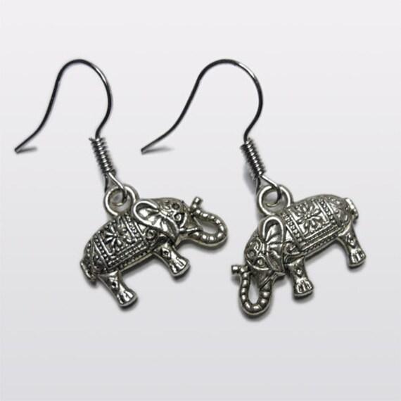 elephant earrings with pattern by elliegantgems on etsy