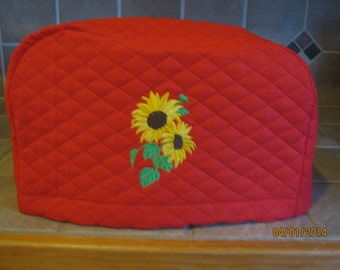 Sunflowers 2 or 4 Slice Toaster Cover, Choose Black, Red or Cream Color