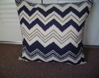 Navy Chevron Pillow Cover, 18''x18'' Decorative Chevron Pillow Cover