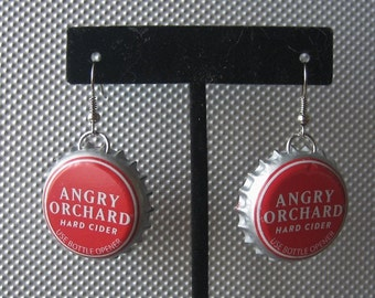Recycled Angry Orchard Bottle Cap Upcycled Bottlecap Earrings