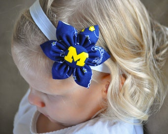 Free Shipping! University of Michigan wolverine fabric flower headband for Baby