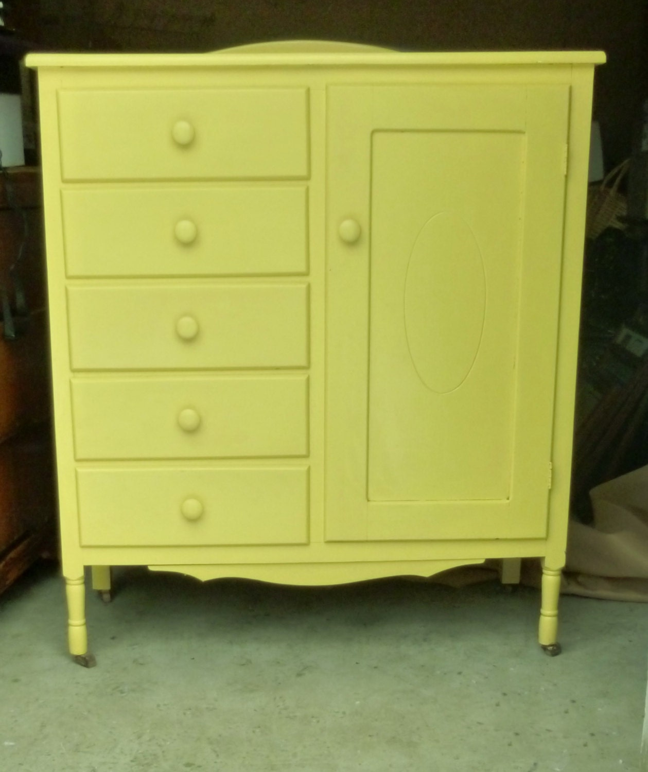 Baby Armoire Bright Yellow 5 Drawer by TandRTreasures on Etsy