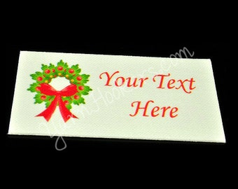 Christmas Wreath - White Cotton Custom Printed Labels / Sew in Clothing labels / Personalized Fabric Labels - For Crochet, Knit, Sewing