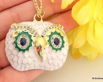 White Owl Head With Blue, Green and Diamante Eyes Pendant Necklace