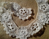 Victorian Fine Lace Collar Applique Hand Crocheted Floral Collar Cotton Lace Bridal Collar Sewing Project #sophieladydeparis