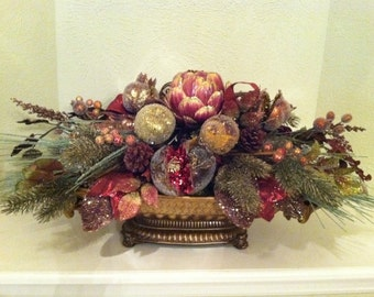 Elegant Fruit Christmas Centerpiece Floral