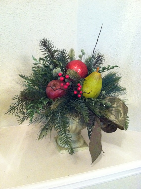 Items similar to christmas floral centerpiece fruit