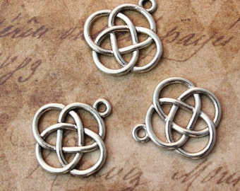 10 Celtic Knot  Charms Celtic Knot Pendants Antiqued Silver Tone 17 x 20 mm
