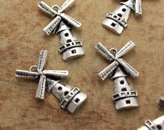 10 Windmill Charms Windmill Pendants Antiqued Silver Tone  16 x 28 mm