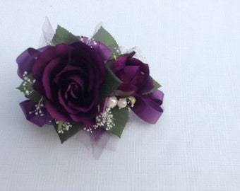 2 piece corsage and boutonniere in plum roses