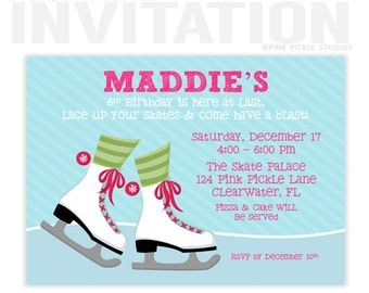 Ice Skating Birthday Party Invitations, personalized thank you cards, birthday invitations, party invitations / No.124
