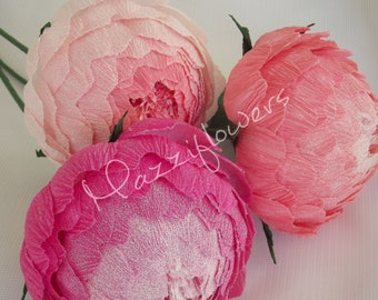 Bridal flower,paper flower,wedding flower,paper peonies,wedding peony,peonies bridal,bridesmaids  bouquet,bridal peony,flower paper 3 pcs.