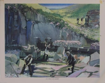 Vintage Macmillan School Poster: Welsh Slate Quarry