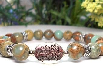 Nature Bracelet, Aqua Terra Jasper Bracelet, Tree Branch, Tree Bracelet, Nature Girl Gift, Earthy Bracelet, Natural Bracelet
