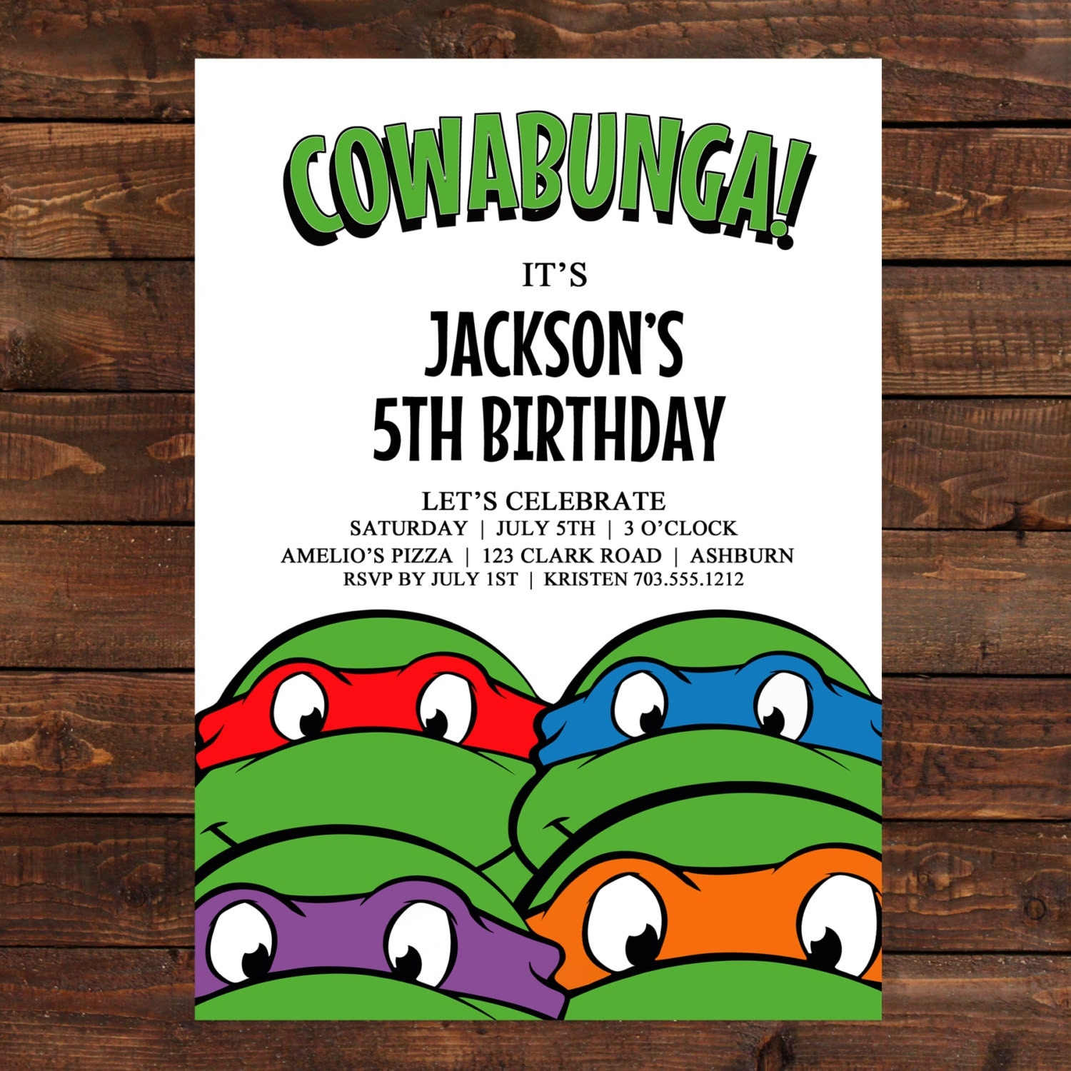Gargantuan image with ninja turtle birthday invitations printable