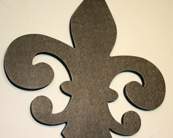Dark Grey Fleur de lis wall decor , Grey wall decor, French decor, Fleur de lis wall art