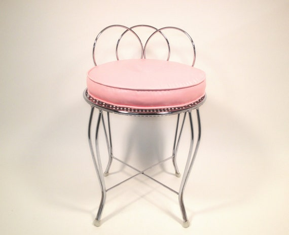 mid century metal vanity chair with pink cushion vintage