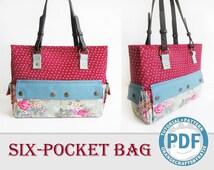 Six-pocket bag / PDF sewing tutorial and patterns /  Shoulder Bag / Travel Bag