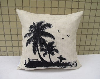 Linen pillow cover Throw Pillow Cover decorative pillow cushion cover  Coco Tree pillow flying birds pillow double sides design