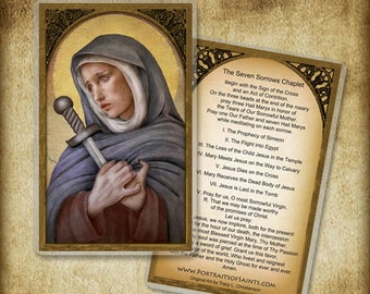 Our Lady of Sorrows Prayer Card or Wood Magnet  #0040