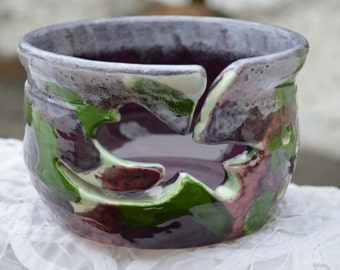 yarn Bowl Hand Thrown Emerald Green and Purple Cammo with Hand Carved Dragonfly Medium Custom Made