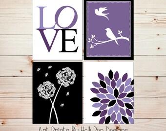 Girl nursery art Bird art Bird on branch Dandelion nursery print Purple black wall art Floral burst print Toddler girls room wall art #0630