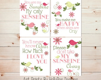 Baby Girl Nursery Decor Girl Nursery Art Birds on a Branch You are My Sunshine Girls Room Decor Whimsical Nursery Nursery Wall Decor #0507