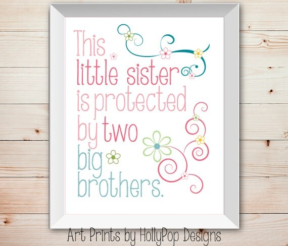 Big Sister To Brother Quotes: Nursery Wall Decor Baby Girl Little Sister Big Brother Kids