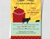 Barnyard Birthday Invitation - Boy or Girl Birthday Party - Farm Animals Birthday - Digital Design or Printed Invitations - FREE SHIPPING
