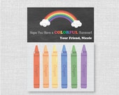 End of School Year Crayon Bag Kits - Chalkboard Rainbow Topper - End of School Year Party Favor