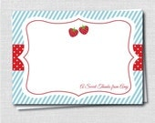 Strawberry Custom Notecard - Strawberry Party Thank You - Digital Design or Printed Notecards - FREE SHIPPING