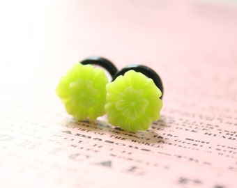 Neon Green Flower Plugs 0g Gauges Custom 4g 2g 0g Piercing for Stretched Ears Size 4 2 0