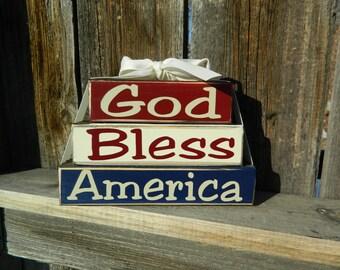 4th of July wood blocks- God bless America Mini