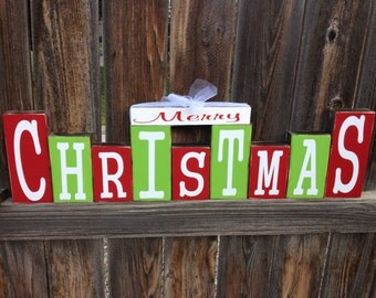 Merry Christmas wood blocks-bright