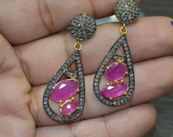 Pink Sapphire Earrings with Diamond pave on 925 Silver