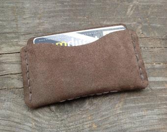 Leather Wallet Sleeve - Minimalist -Leather Card holder - 06