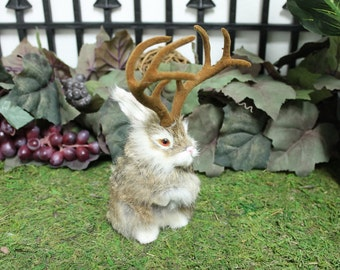 Brown Tan Jackalope Rabbit with Horns Standing Easter Bunny Furry Animal Taxidermy Decor