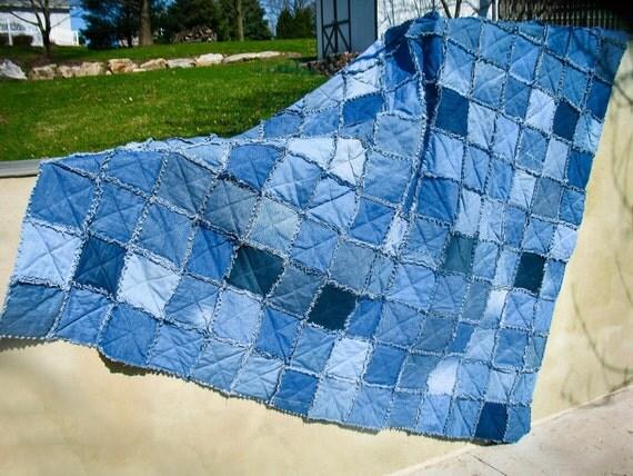 Upcycled Denim Rag Quilt Queen Size Jean Quilt - Handmade Patchwork Quilt