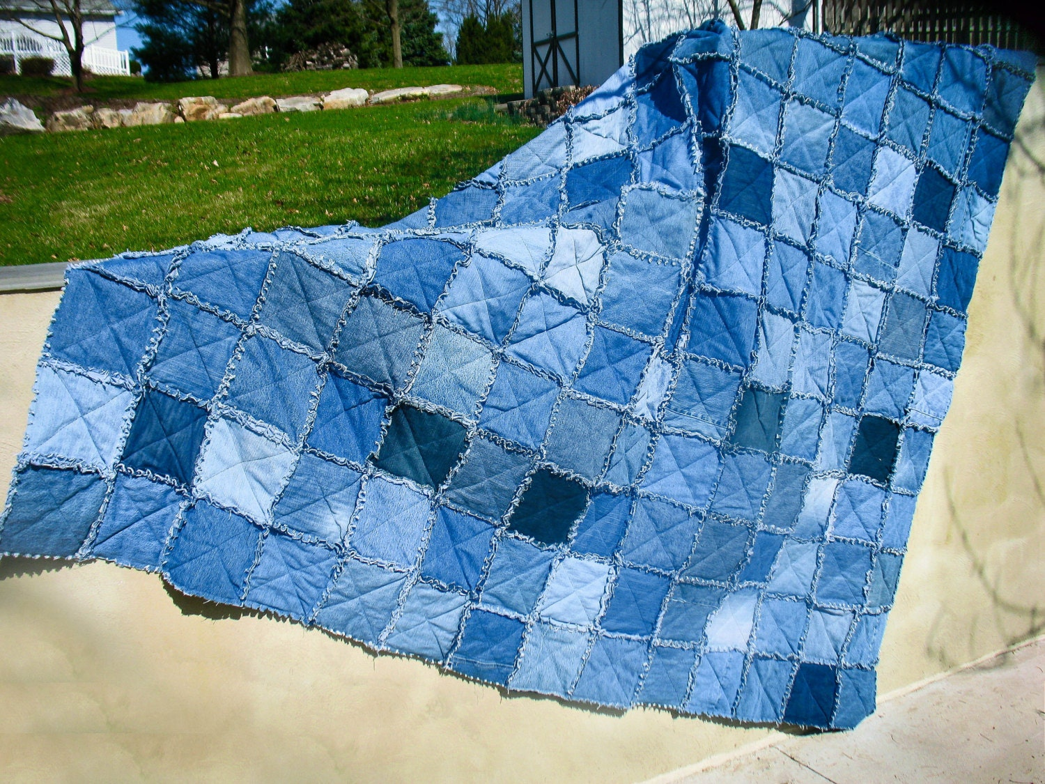 King Size Upcycled Denim Rag Quilt Jean Quilt with Matching