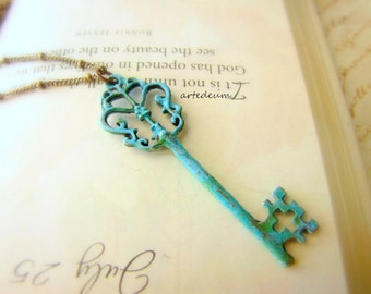 Blue Skeleton Key necklace vintage Antique style Verdigris blue and bronze Pendant christmas Gift for her Romantic Boho chain
