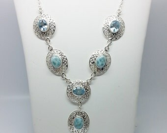 25.91tcw Larimar and Blue Topaz Sterling Silver Necklace
