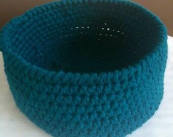 Crochet Basket, Large Crochet Basket, Teal Basket, Teal Crochet Basket, Crochet Storage Basket, Towel Basket, Kitchen Basket, Ready to Ship
